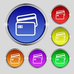 Credit card icon sign round symbol on bright vector