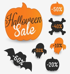 Halloween sale elements and stickers vector