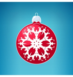 Red ball with snowflake vector