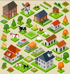 Farm toy blocks isometric set vector