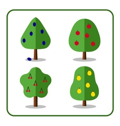 Fruit tree icons set 3 vector