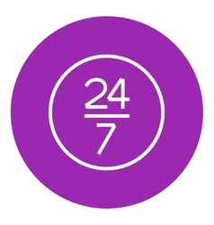 Open 24 hours and 7 days in wheek sign line icon vector