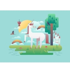 Unicorn animal in nature vector