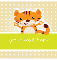 Cartoon tiger card vector image