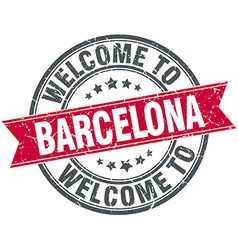 Welcome to barcelona red round vintage stamp vector