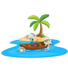 A boy and girl are boating vector