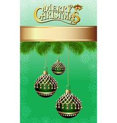 background with fir branches and Christmas balls w vector image vector image