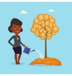 Business woman watering financial tree vector