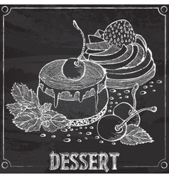 Cakes with cherries and strawberries chalk outline vector