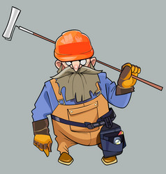 Cartoon of a bearded man in helmet and working vector
