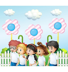 Children in the garden vector image