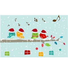 Christmas card with bird and gift box vector image vector image