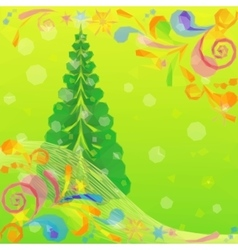 Christmas low poly background with fir tree vector