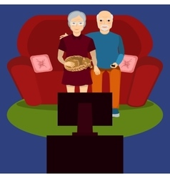 Elderly couple watch tv vector