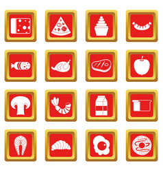 Food icons set red vector