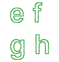 Green grass font set - lowercase letters e f g h vector image