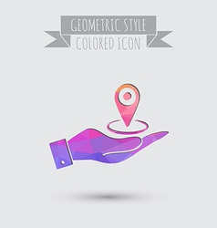 hand holding a pin location on the map vector image