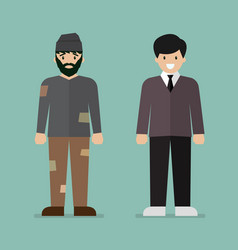 homeless man and rich man character vector image