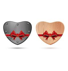 Metal heart and wooden heart vector