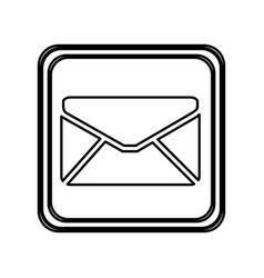Monochrome contour of button with envelope closed vector