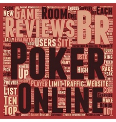 Online poker reviews text background wordcloud vector