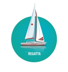 Round emblem of sailing yacht on the water with vector