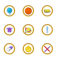 School time icons set cartoon style vector