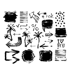 Set of black ink hand drawing brushes collection vector