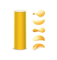Set of yellow container tube with potato chips vector