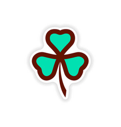 Stylish paper sticker on white background clover vector