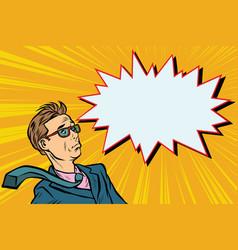 Surprised man businessman pop art vector