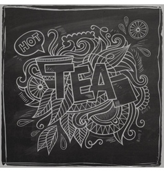 Tea hand lettering and doodles element On vector image vector image