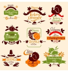 Thanksgiving emblems for greeting card design vector image vector image