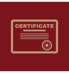 The certificate icon diploma symbol flat vector