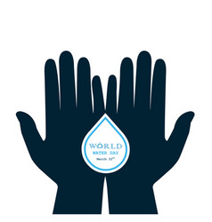 Water drop with human hand icon logo design vector