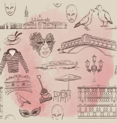 Watercolor seamless pattern with venice sketch vector