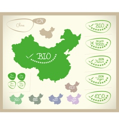 Bio map cn china vector