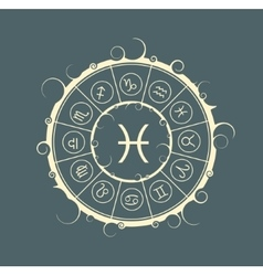 Astrology symbols in circle fish sign vector