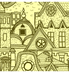Hand-drawn seamless pattern with old town vector
