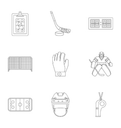 Ice fight icons set outline style vector