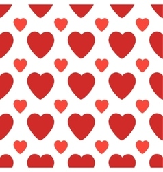 Seamless pattern with big and small red hearts vector image