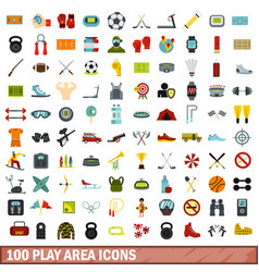 100 play area icons set flat style vector