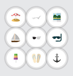 Flat icon season set of spectacles yacht beach vector
