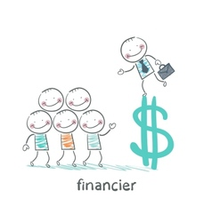 financier is on the dollar sign and talking with vector image