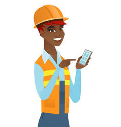 Young african builder holding a mobile phone vector