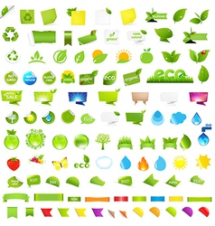 Big nature and eco set with labels vector