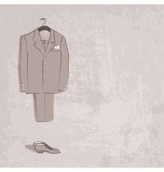Sketch groom suit vector