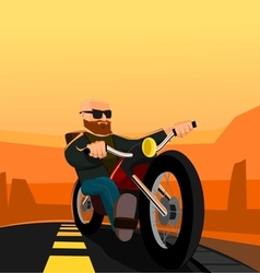 Biker in the desert vector