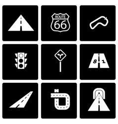 black road icon set vector image