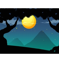 Silhouette forest scene on fullmoon night vector image